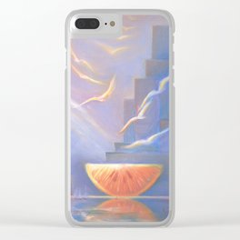 Dessert Party, Abstract Landscape, Orange, Downtown, Wall Art Clear iPhone Case