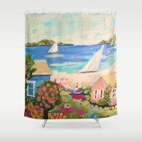 karen hallion Shower Curtains featuring Pink Hibiscus by Karen Fields by Karen Fields Design