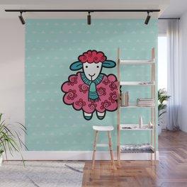 Doodle Sheep on Aqua Triangle Background Wall Mural