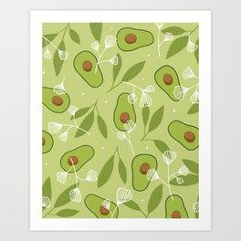 Happy Avocados Art Print