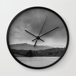 Rainclouds and rain over Rydal Water at dusk. Lake District, UK. Wall Clock
