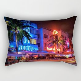 South Beach Miami Portrait in Colorful Time Lapse Paint by Jeanpaul Ferro Rectangular Pillow