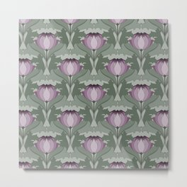 Lavender Flowers Art Nouveau Inspired Floral Pattern Metal Print