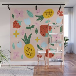Strawberry and pineapple hand-painted Wall Mural