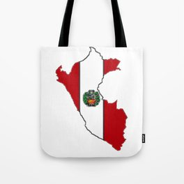 Peru map with Peruvian Flag Tote Bag