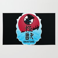 kaiju Area & Throw Rugs featuring Kaiju Sake by zerobriant