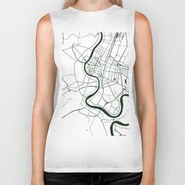 Bangkok Thailand Minimal Street Map - Forest Green and White Biker Tank