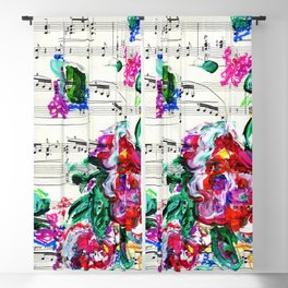 Musical Beauty - Floral Abstract - Piano Notes Blackout Curtain