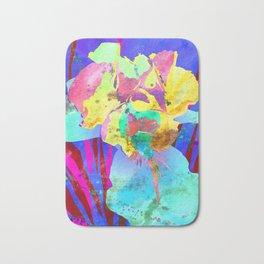 Fluorescent Watercolor Iris Art - Purple & Aqua Blue Bath Mat