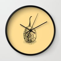 pumpkin Wall Clocks featuring Pumpkin by Antonina Sotnikova