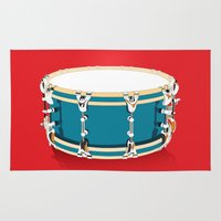 drum Area & Throw Rugs featuring Drum - Red by Ornaart