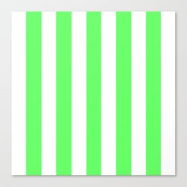 Screamin' Green - solid color - white vertical lines pattern Canvas Print