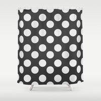 polka dots Shower Curtains featuring Polka Dots by Nobu Design