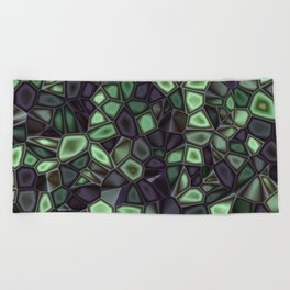 Fractal Gems 04 - Emerald Dreams Beach Towel