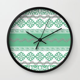 Turquoise pattern1 Wall Clock