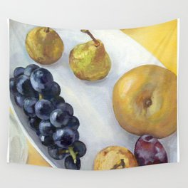 pears, grapes, and a prune Wall Tapestry