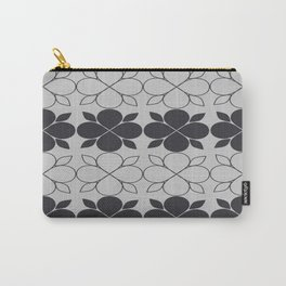 Black and Grey Flower Tile Carry-All Pouch