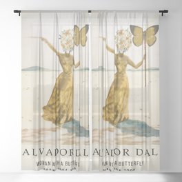 Salvador Dali - Woman with a Butterfly - Painting Wall Decor Canvas - Vintage Art Print Sheer Curtain