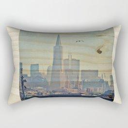 Sailor's View: Transamerica Pyramid, San Francisco, CA - Distressed Photo on Wood Rectangular Pillow