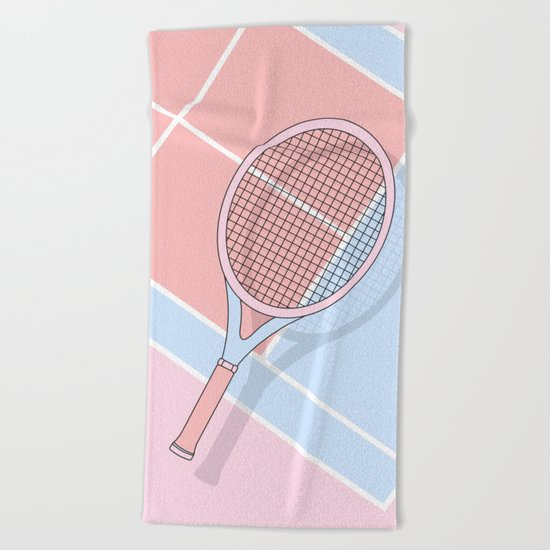 Hold my tennis racket Beach Towel