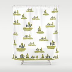 Varigated pine forest Shower Curtain