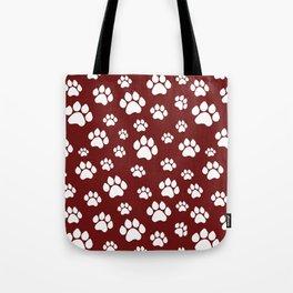 Puppy Prints on Maroon Tote Bag