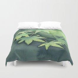Japanese Maple Watercolor Green Leaves Duvet Cover