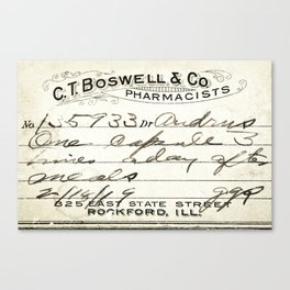 Vintage Prescription Label Canvas Print