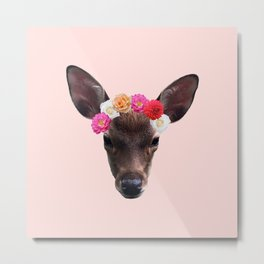 Decorated Deer | Peach Metal Print