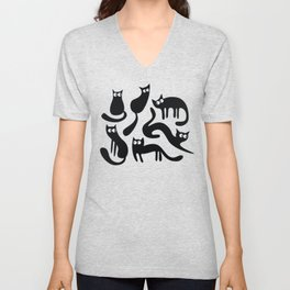 Feline Good - Black & White Unisex V-Neck
