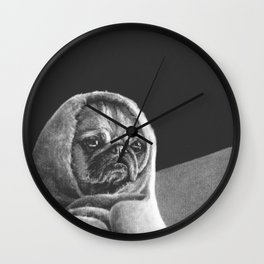 """Black and white puppers """"Grumpy"""" Wall Clock"""