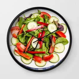 Green Salad with Red Pepper Wall Clock