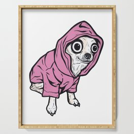 Chihuahua Pink Hoodie Serving Tray