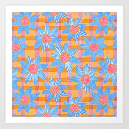 Blue Flowers on Gingham Art Print