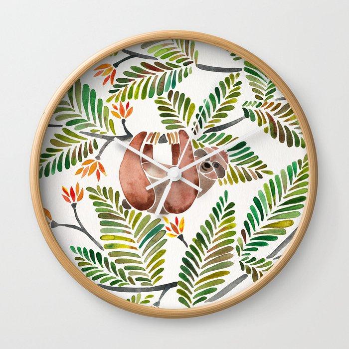 Happy Sloth – Tropical Green Rainforest Wall Clock