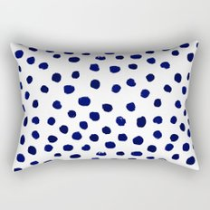 Mini dots painterly brushstrokes boho modern indigo blue and white preppy nautical dorm college art Rectangular Pillow