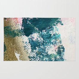 Curious [1]: a vibrant, minimal abstract mixed-media piece in teal, pink, white and gold Rug