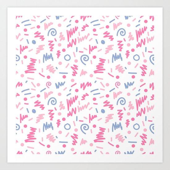 Trendy minimal bright nursery pattern squiggle zig zag polka dots swirl pattern Art Print