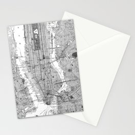 Vintage Map of New York City (1918) BW Stationery Cards