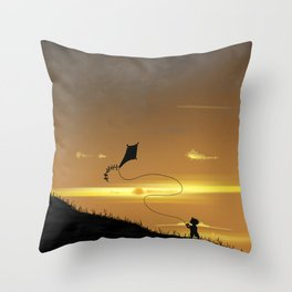 Kite-Flying at Sunset Throw Pillow