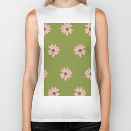 Colorful retro home decor and textile design flower pattern on olive Biker Tank