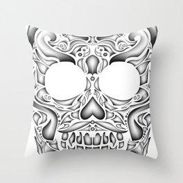Lucha skull Throw Pillow