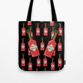 Hot Sauce on Black Tote Bag