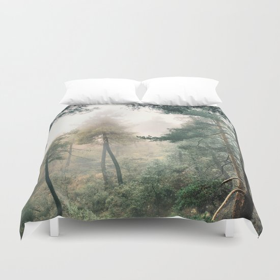 """Into the woods"". Wandering into the fog Duvet Cover"