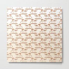 Gold Leaf Flamingo Pattern Metal Print