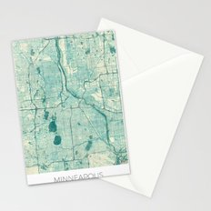 Minneapolis Map Blue Vintage Stationery Cards