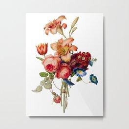 Tiger lilies, Roses, Morning Glory Antique Heirloom Flower Bouquet Original Aquatint Watercolor PNG 1 Metal Print