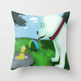 Who's in my bowl Throw Pillow