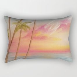 Paradise, Beautiful Beach, Peaceful Beach, Pastel Beach, Beach decor Rectangular Pillow