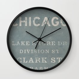Chicago Streets - Slate Wall Clock